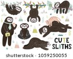 Stock vector cute sleeping sloths collection with mountains plants and flowers funny characters in different 1059250055