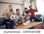 group of friends watching... | Shutterstock . vector #1059269288