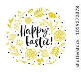 happy easter. flower circle... | Shutterstock .eps vector #1059272378