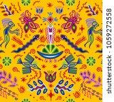 huichol pattern mexican... | Shutterstock .eps vector #1059272558