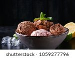 portion of chocolate and berry... | Shutterstock . vector #1059277796