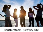 group of happy young people... | Shutterstock . vector #105929432