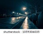 empty dark and wet urban city... | Shutterstock . vector #1059306035