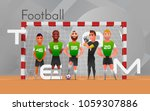 football team standing at gate. ... | Shutterstock .eps vector #1059307886