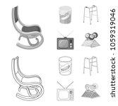 denture  rocking chair  walker  ... | Shutterstock .eps vector #1059319046