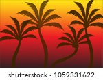 Silhouette Of Coconut Tree Wit...