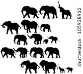Stock vector background with elephants silhouettes 105938912