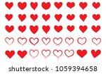 set of red hearts icons. hand... | Shutterstock .eps vector #1059394658