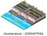 riverside city isometric 3d... | Shutterstock .eps vector #1059407936