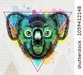 hipster animal koala on... | Shutterstock .eps vector #1059412148