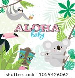 fun aloha baby poster with... | Shutterstock .eps vector #1059426062