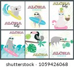set of fun aloha baby posters... | Shutterstock .eps vector #1059426068