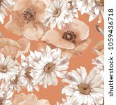 watercolor poppies and... | Shutterstock . vector #1059436718