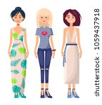 three casual girls in different ... | Shutterstock .eps vector #1059437918