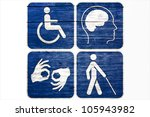 four grunge disabled symbols... | Shutterstock . vector #105943982
