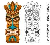 tiki tribal wooden mask.... | Shutterstock .eps vector #1059448592