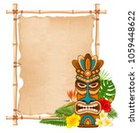 tiki tribal wooden mask ... | Shutterstock .eps vector #1059448622