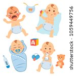 cute little baby in diaper with ... | Shutterstock .eps vector #1059449756