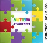 world autism awareness day with ... | Shutterstock .eps vector #1059450956