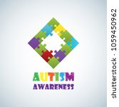 world autism awareness day with ... | Shutterstock .eps vector #1059450962