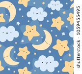 Stock vector cloud moon and stars cute seamless pattern cartoon vector illustration night sky background 1059455495