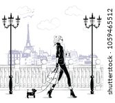 fashion girls in sketch style... | Shutterstock .eps vector #1059465512