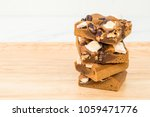 blondie cake with marshmallow...   Shutterstock . vector #1059471776