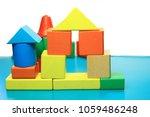 wooden blocks building toy . | Shutterstock . vector #1059486248