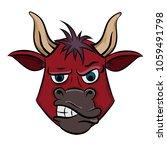 aggressive red bull head vector ...