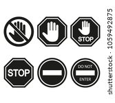 stop signs collection in black... | Shutterstock .eps vector #1059492875