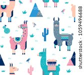 cute lamas with mountains and... | Shutterstock .eps vector #1059496688