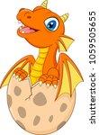 cartoon little dragon hatching | Shutterstock .eps vector #1059505655