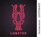 lobster neon light glowing... | Shutterstock .eps vector #1059506435