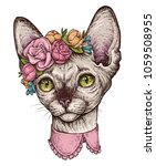hand drawn portrait of cute... | Shutterstock .eps vector #1059508955