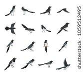 magpie crow bird icons set.... | Shutterstock .eps vector #1059512495
