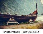 old wooden viking boat on...
