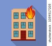 burning house icon. flat... | Shutterstock .eps vector #1059517205