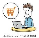 male  internet  shopping   Shutterstock .eps vector #1059521318