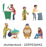 poor and homeless adults people.... | Shutterstock .eps vector #1059526442