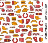 seamless pattern with meat... | Shutterstock .eps vector #1059538505