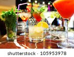 Stock photo colorful cocktails close up 105953978