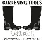 black and white rubber boots...   Shutterstock .eps vector #1059540188