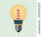 idea for travel. lighthouse... | Shutterstock .eps vector #1059542255