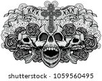 gothic coat of arms with skull  ... | Shutterstock .eps vector #1059560495