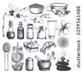 vintage fset of  hand drawn spa ... | Shutterstock .eps vector #1059561488