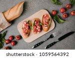 gourmet italian bruschetta on... | Shutterstock . vector #1059564392