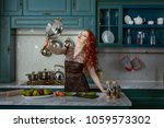 the red haired woman is... | Shutterstock . vector #1059573302