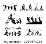 family outdoor recreational... | Shutterstock . vector #1059574298