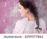 woman and numerology world | Shutterstock . vector #1059577862