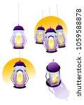 cartoon vector islamic lantern... | Shutterstock .eps vector #1059588878